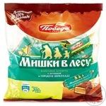 Конфеты в горьком шоколаде Победа Мишки в лесу с вафлями 200г