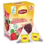 Ceai Lipton in piramide cu capsune si menta 20x1,6g