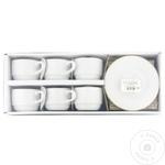 Набор чашек для чая фарфор золото 200мл 6шт