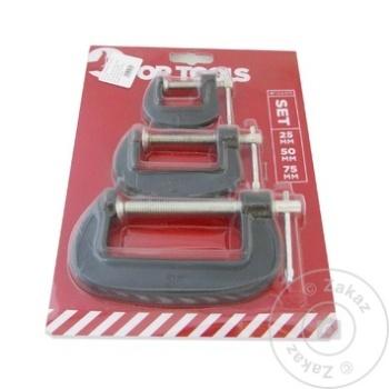 Струбцина Top Tools Tip G 25/50/75мм набор 3шт - купить, цены на Метро - фото 1