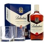 Виски Ballantines 0,7л + 2 стакана