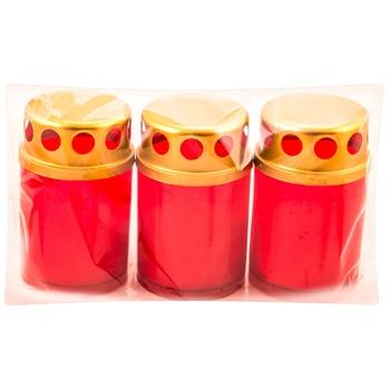 Набор из 3 свечей с крышкой Tip503 12 часов - купить, цены на Метро - фото 1