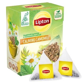 Чай травяной Lipton Calming Camomile с ромашкой и мятой 20 пирамидок х 0,7г - купить, цены на Метро - фото 1