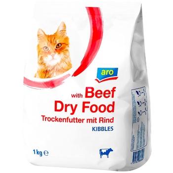 Корм сухой для кошек ARO говядина 1кг - купить, цены на Метро - фото 1