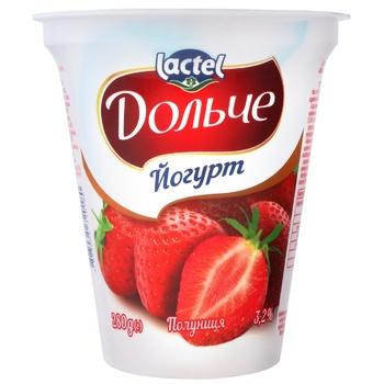 Йогурт Дольче с клубникой 3,2% 280г - купить, цены на Метро - фото 1