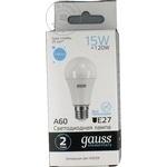 Светодиодная лампа Gauss A60 15ватт патрон обычный E27 белый цвет