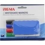 Маркер Sigma Whiteboard 4шт + губка