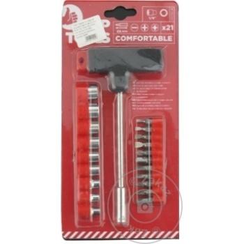 """Отвертка с держателем Top Tools """"T"""" + сменные наконечники и головки набор 21шт - купить, цены на Метро - фото 3"""
